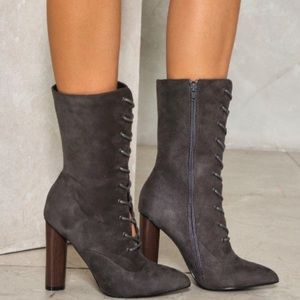 Lace-up/Zip-up Mid-Rise Boot